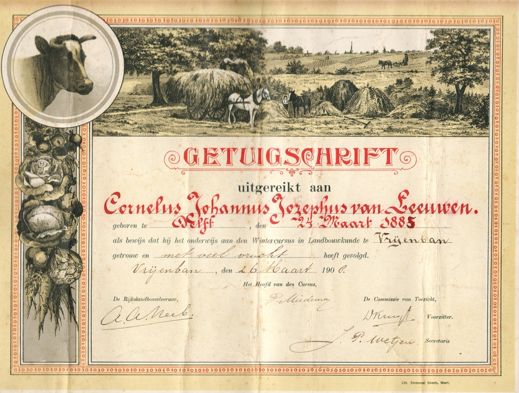 Certificate of winter course agronomy in Vrijenban which Cor has completed on 26th of March 1908